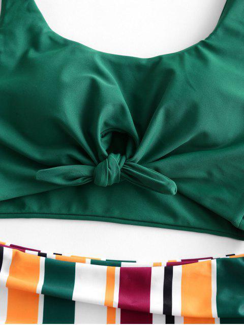 ZAFUL rayas atado de Control de Abdomen Tankini del traje de baño - Mar Verde Mediana M Mobile