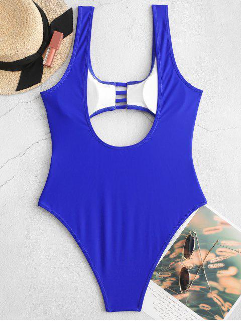 women ZAFUL Ladder Cut Backless Cutout One-piece Swimsuit - COBALT BLUE L Mobile