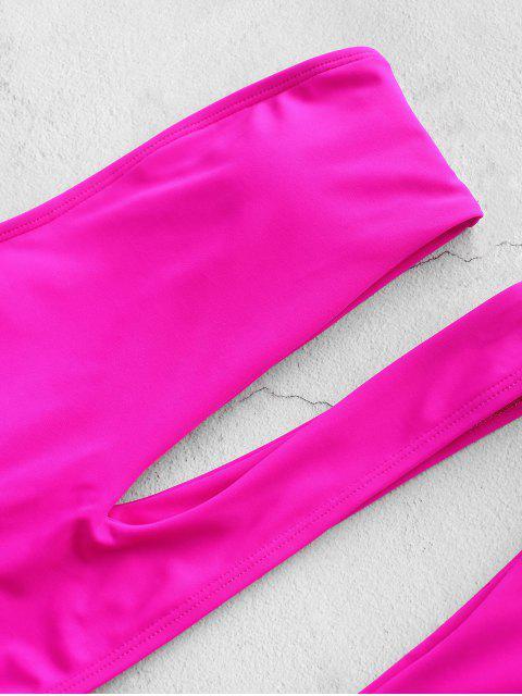 ZAFUL neón inclinación de cuello alto corte de Tankini del traje de baño - Dimorphotheca Magenta XL Mobile