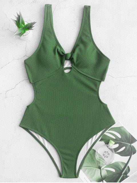 chic ZAFUL Ribbed Knotted Cut Out One-piece Swimsuit - HAZEL GREEN L Mobile
