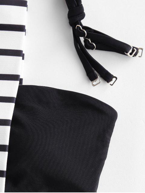ZAFUL條紋吊帶混搭比基尼泳裝 - 黑色 L Mobile