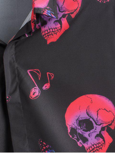 גולגולת פרפר Halloween הדפס לחצן Up שרוול ארוך חולצת - שָׁחוֹר 2XL Mobile