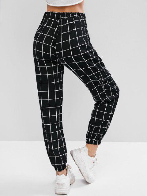 fashion High Waist Plaid Jogger Pants - BLACK L Mobile