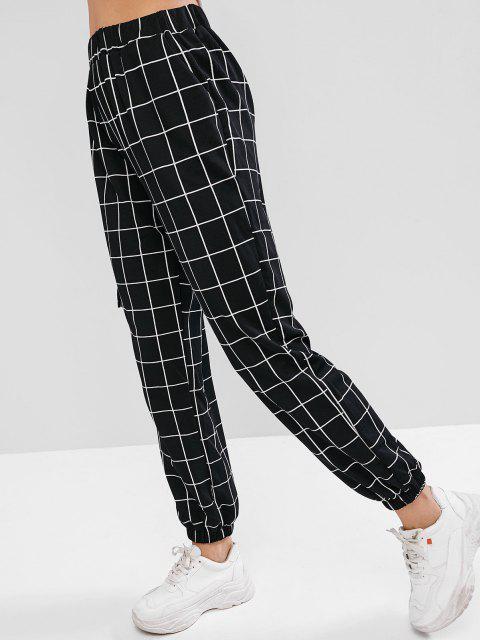 Jogger Pantalones a Cuadros con Cintura Alta - Negro S Mobile