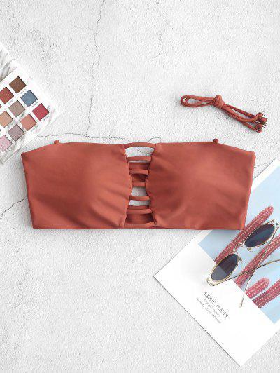 ZAFUL Bikini Bandeau Top Con Recorte De Escalera - Castaño Rojo S