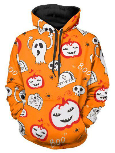 Halloween Pumpkin Mens Pullover Hooded Sweatshirt Cap Pocket Printing Long Sleeve Tops Coats