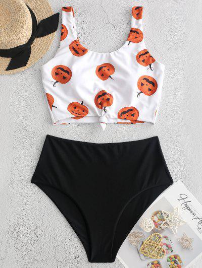 ZAFUL Halloween Pumpkin Print Knot Tankini Swimsuit - Black L