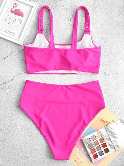 ZAFUL Buckle Padded Tummy Control Tankini Swimsuit, Rose red