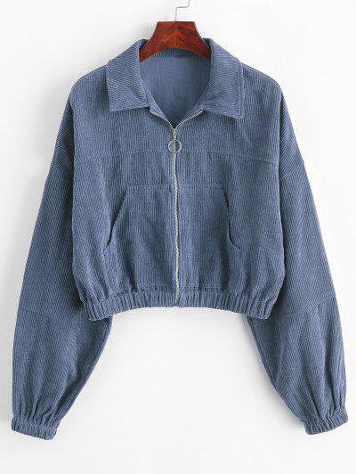 ZAFUL Corduroy Pocket Pull Ring Drop Shoulder Jacket - Slate Blue M