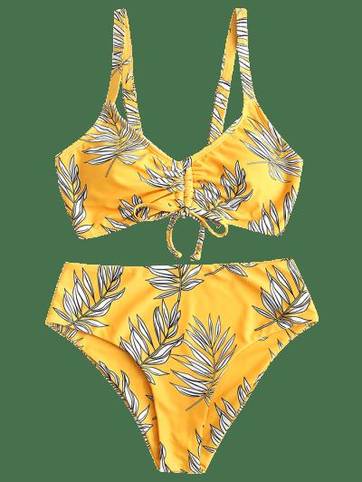 ZAFUL Cinched Leaf Print Lace Up Tankini Swimsuit