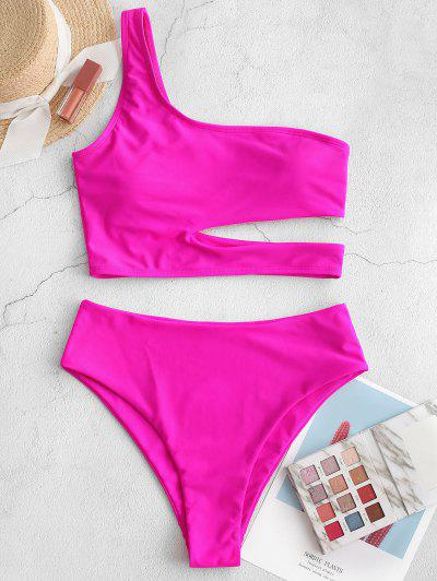 ZAFUL Neon Skew Collar High Cut Cutout Tankini Swimsuit - Dimorphotheca Magenta M
