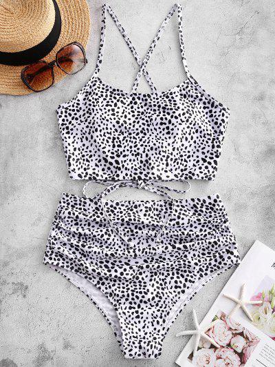 ZAFUL Leopard Lace-up Ruched Tankini Swimsuit - Multi-b M