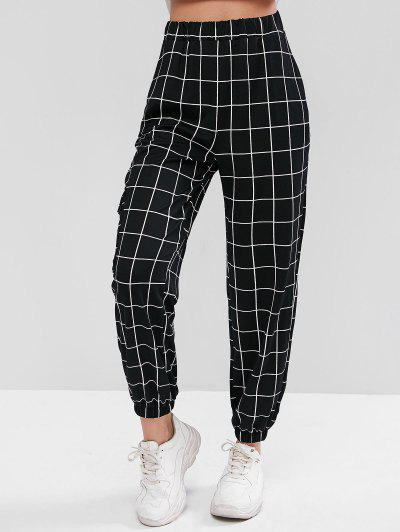 High Waist Plaid Jogger Pants - Black M