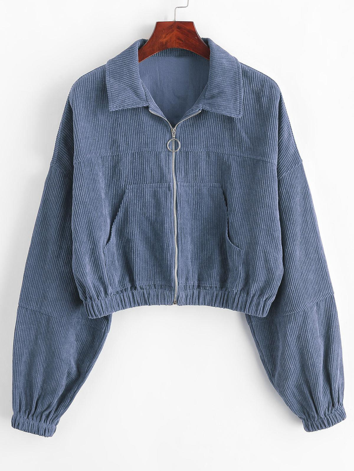 ZAFUL Corduroy Pocket Pull Ring Drop Shoulder Jacket