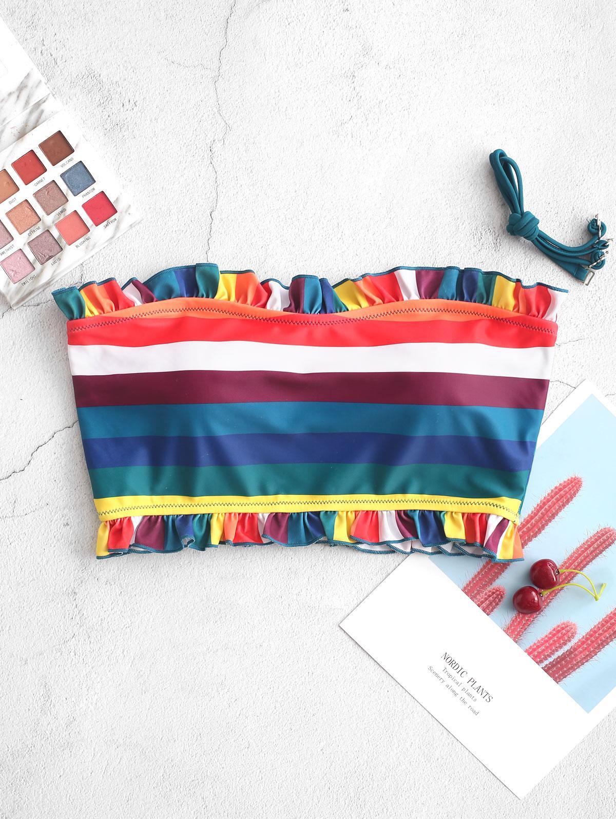 ZAFUL Frilled Rainbow Striped Bandeau Bikini Top, Multi-a