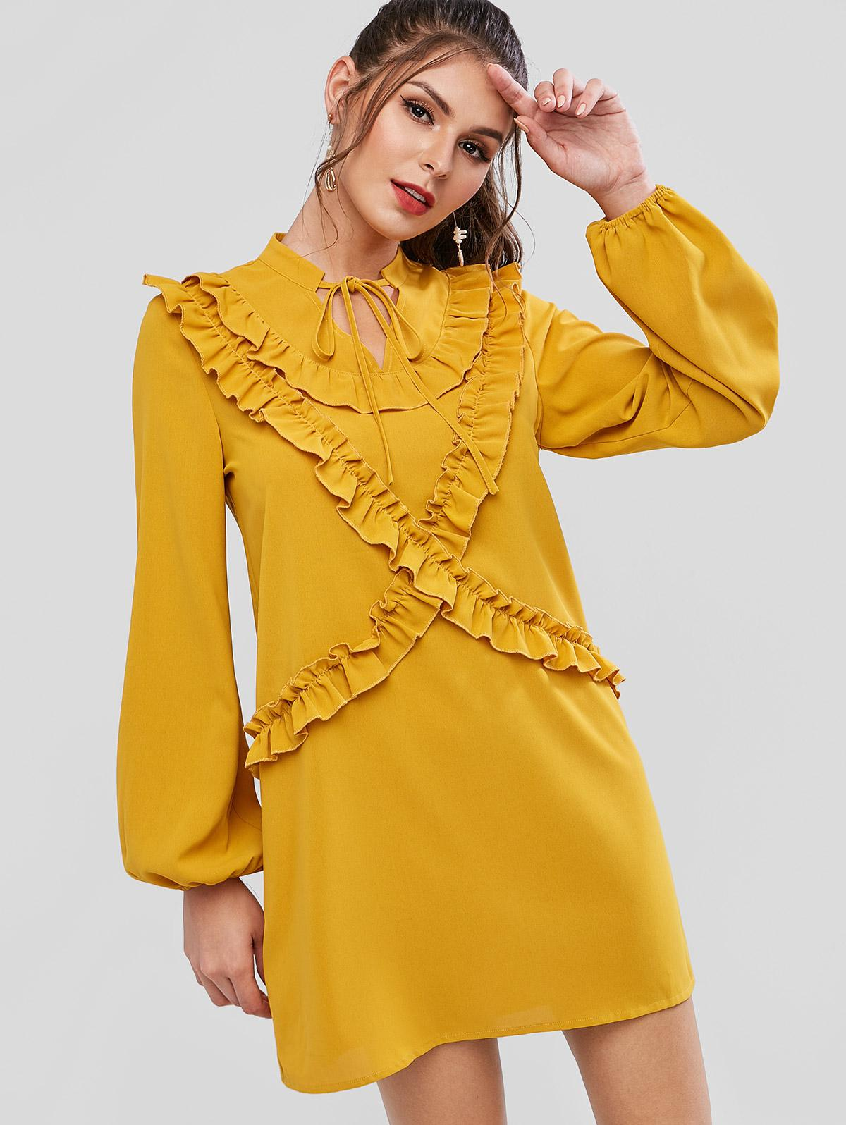 ZAFUL Tie Collar Lettuce Trim Keyhole Long Sleeve Dress