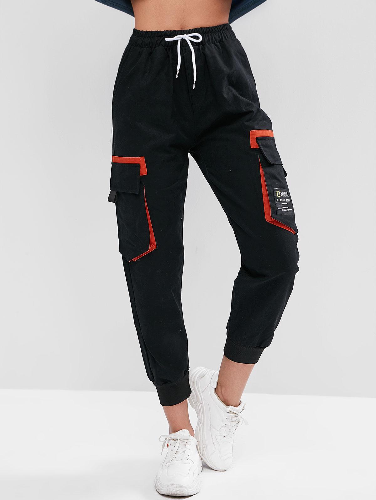 Drawstring Slogan Patched Flap Pockets Jogger Pants