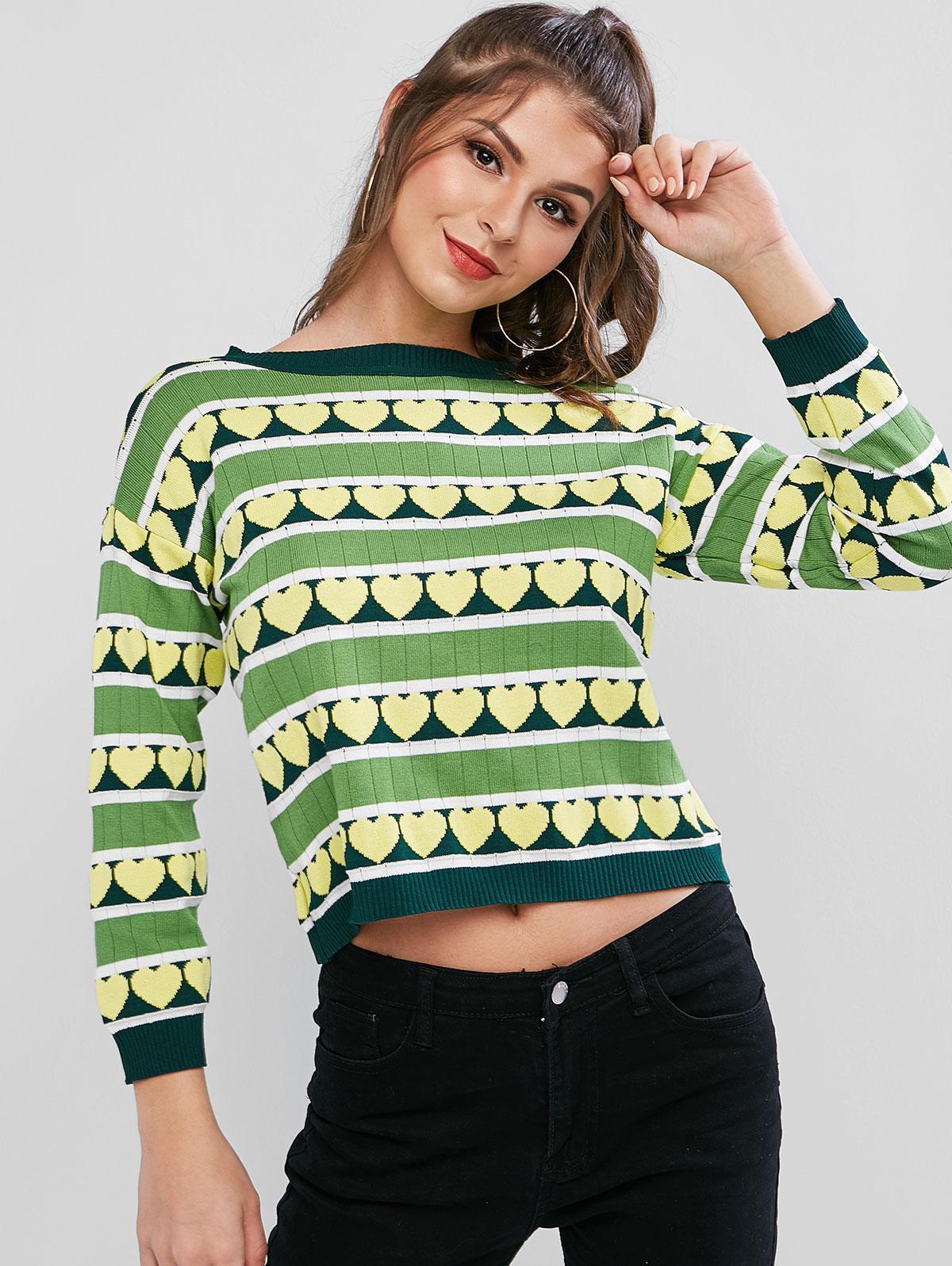 Crew Neck Stripes Heart Graphic Pullover Sweater