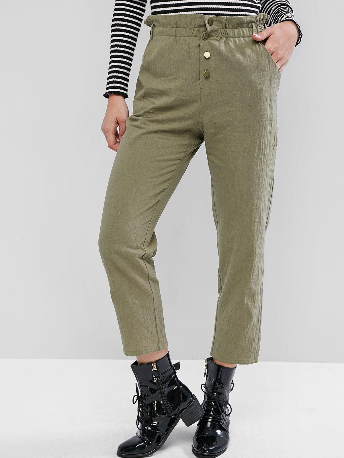 ZAFUL Solid Button Fly Straight Paperbag Pants