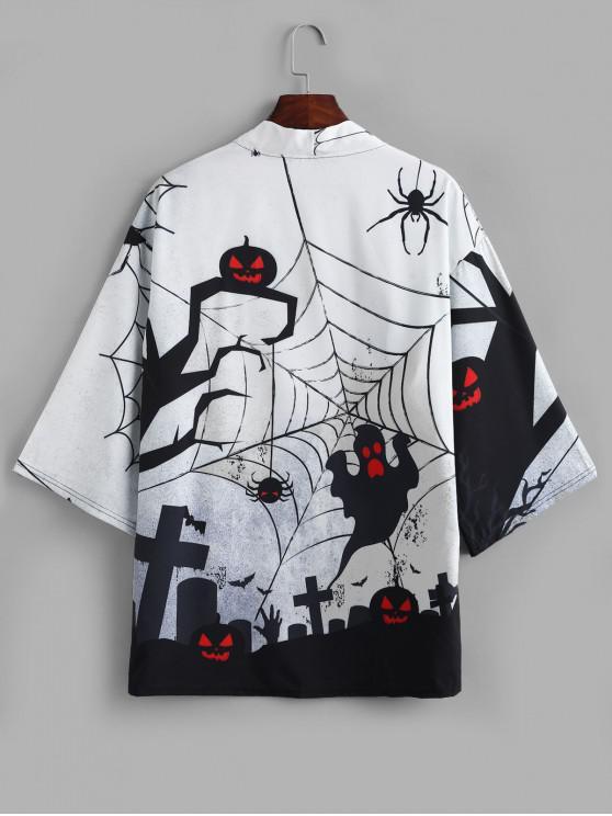 fashion Halloween Pumpkin Spider Ghost Print Open Front Kimono Cardigan - WHITE XS