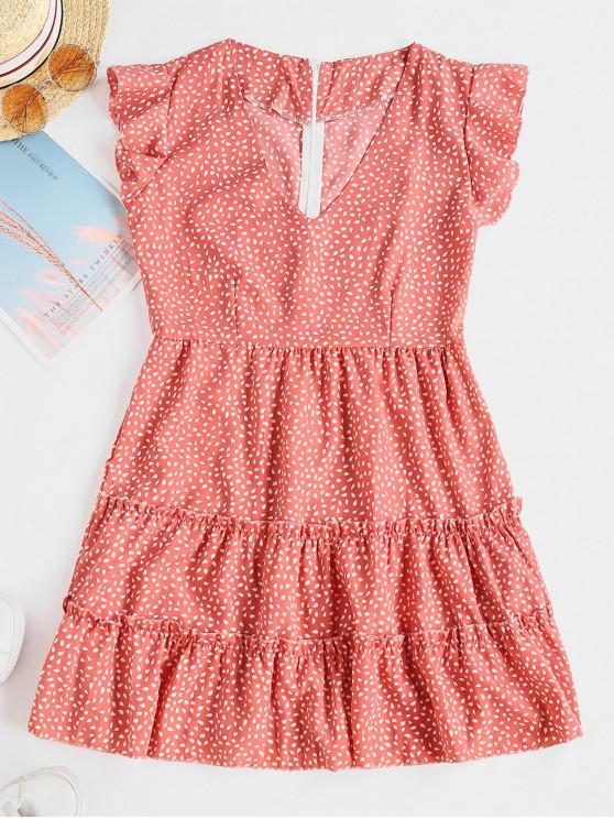 latest Raindrop Print Ruffles Mini Dress - KHAKI ROSE XL