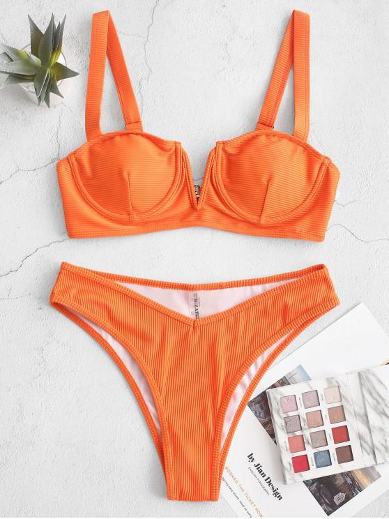shops ZAFUL V-notch Ribbed Underwire Balconette Bikini Swimsuit - DARK ORANGE L