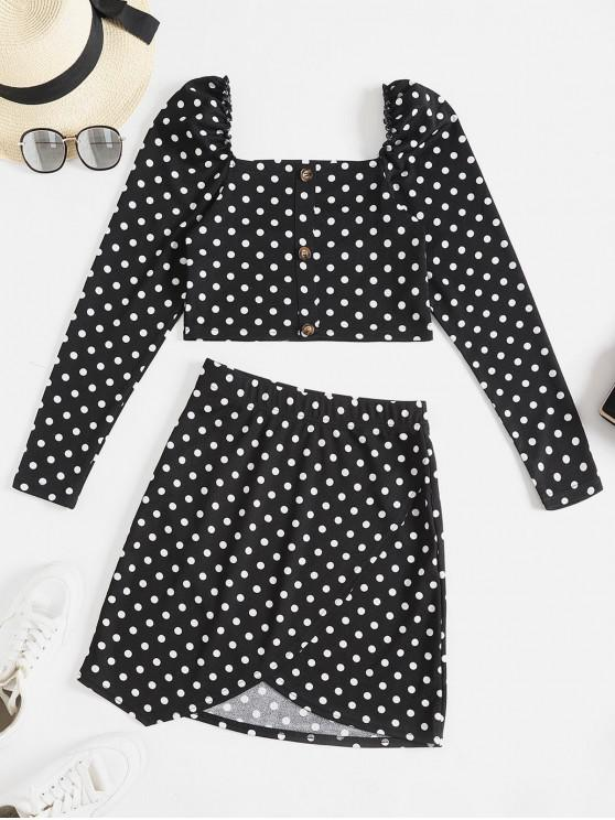 fancy ZAFUL Mock Buttons Cropped Polka Dot Two Piece Dress - BLACK S