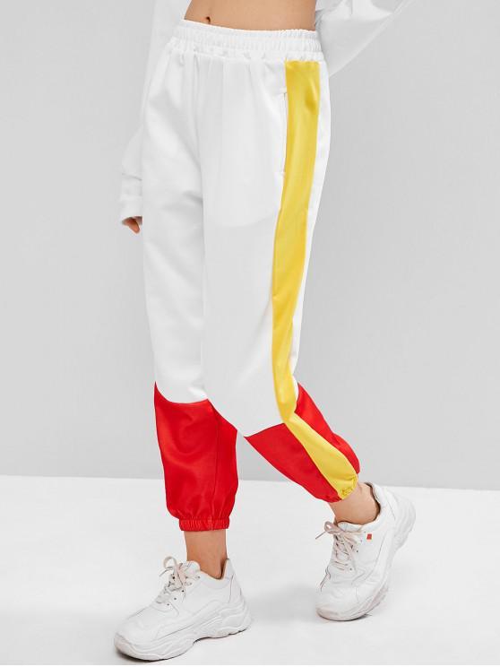 sale Contrast Color Block Pocket Embroidered Jogger Pants - WHITE L