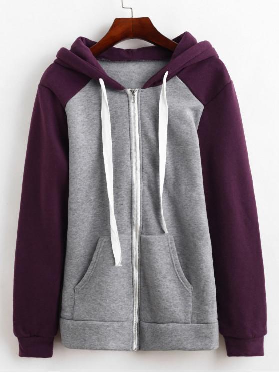 Цветной блок С капюшоном Шерсть Пальто - Фиолетовый ирис M