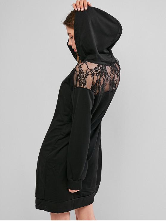 ladies Lace Panel Raglan Sleeve Drawstring Hoodie Dress - BLACK M