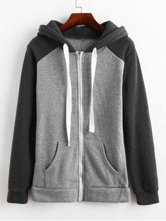 women Colorblock Hooded Fleece Lining Coat - GRAY CLOUD M