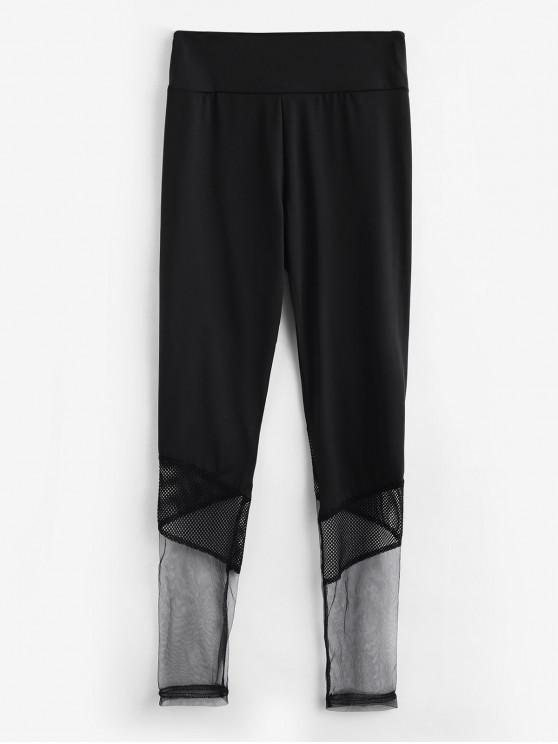 outfits Mesh Panel Skinny Gym Leggings - BLACK XL