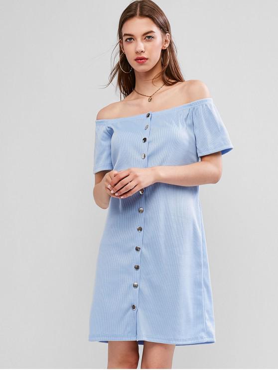 Snap Button羅紋肩部連衣裙 - 牛仔布藍色 S