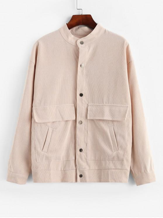 new Snap Button Flap Pockets Corduroy Shirt Jacket - BEIGE L