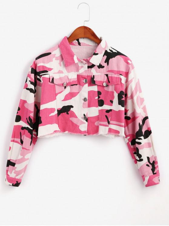 Jaqueta camuflada com corte cru - Rosa S