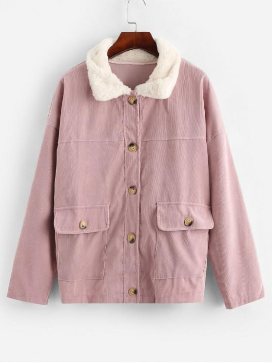 online Fur Collar Button Up Flap Pockets  Corduroy Jacket - SAKURA PINK M