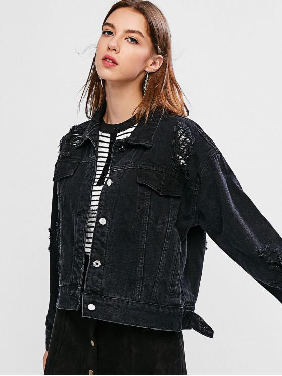 women's Distressed Button Up Pockets Jacket - BLACK M