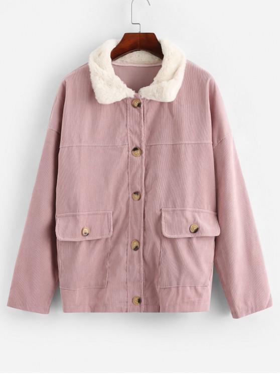 Cuello de piel con botones y solapa bolsillos chaqueta de pana - Rosa Sakura  L