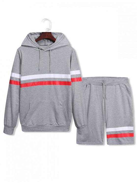 latest Splicing Drawstring Two Piece Gym Outfits - LIGHT GRAY L
