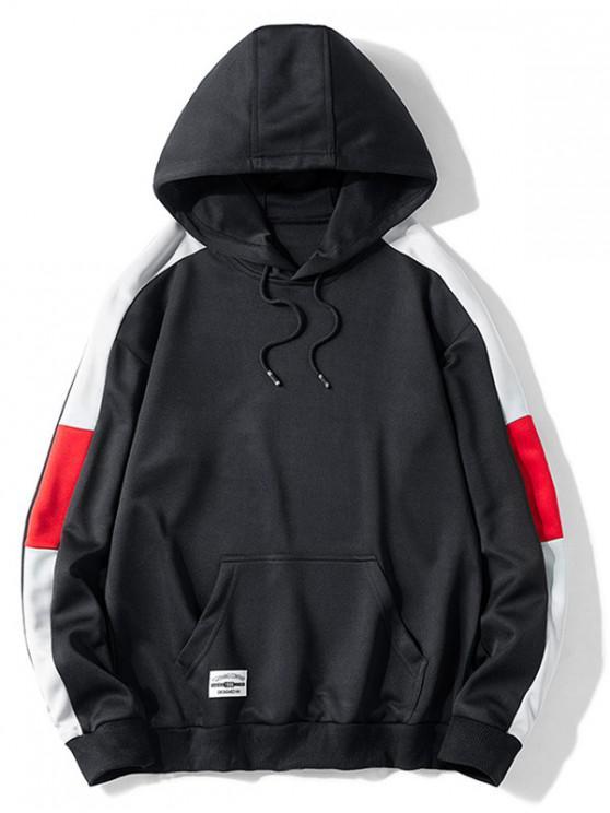 latest Contrast Color Splicing Kangaroo Pocket Drawstring Hoodie - BLACK L