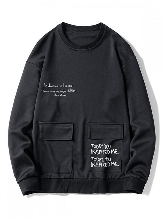 womens Letter Graphic Print Flap Pocket Crew Neck Sweatshirt - BLACK L