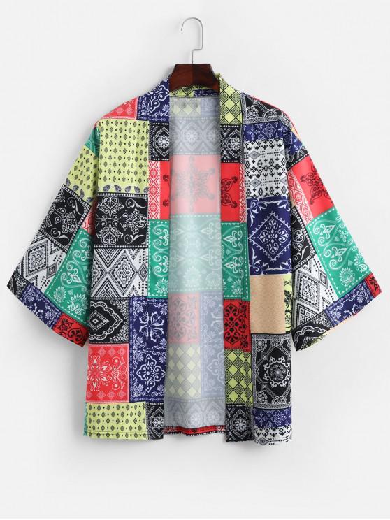 hot Bandana Print Open Front Casual Kimono Cardigan - MULTI S