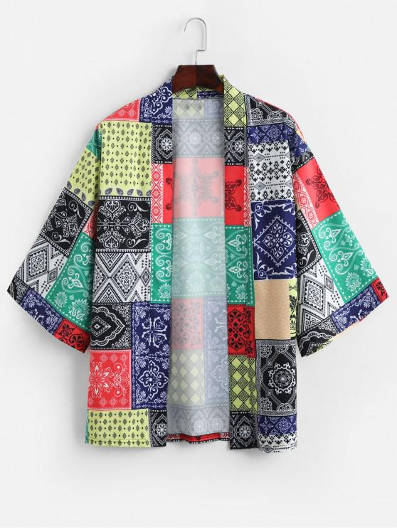 womens Bandana Print Open Front Casual Kimono Cardigan - MULTI XL