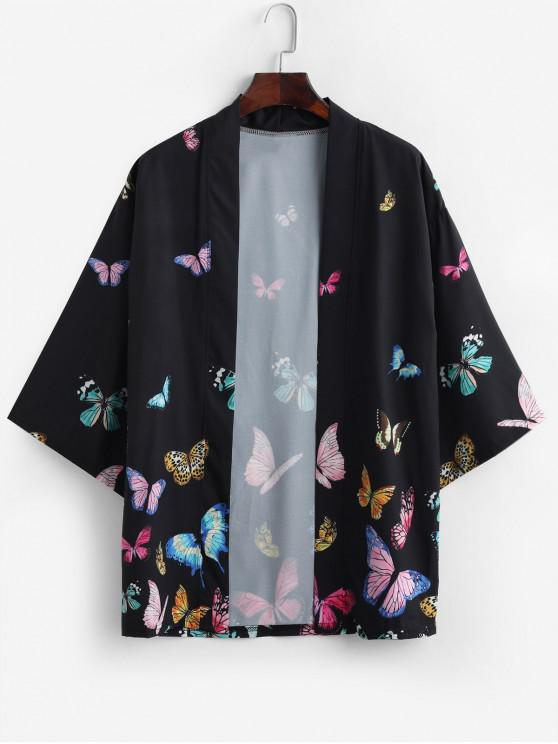 women's Colored Butterfly Allover Print Kimono Cardigan - BLACK XS