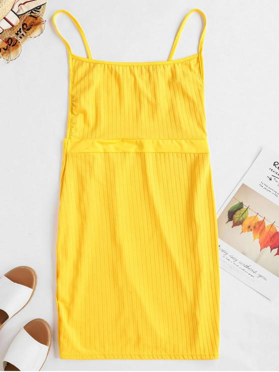shops Backless Solid Bodycon Cami Dress - YELLOW XL