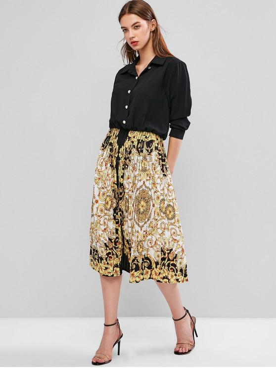 women's Baroque Print Button Front A Line Pleated Dress - BLACK L