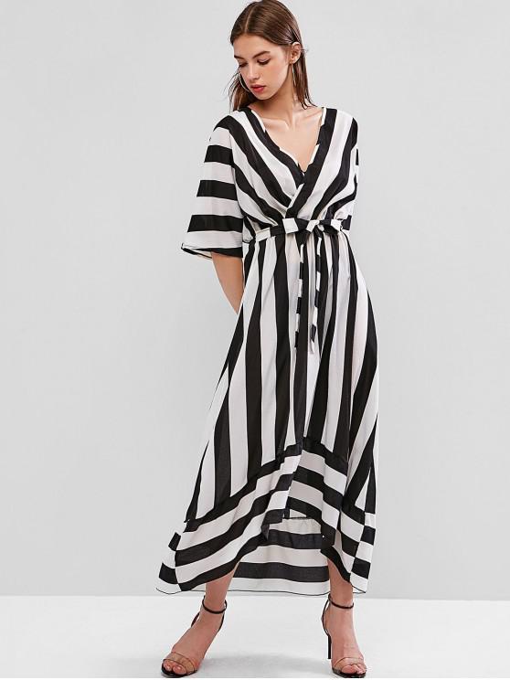 Vestido a rayas de cintura baja con pliegues altos y bajos - Multicolor-A S