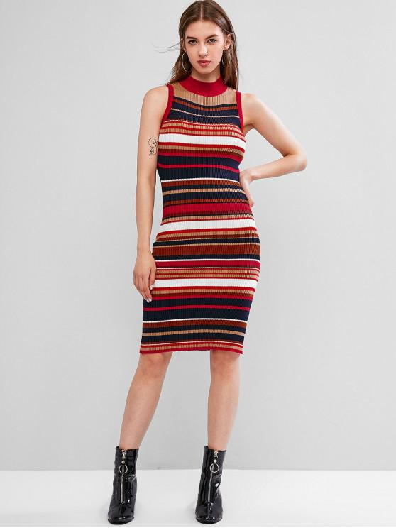 trendy Colorful Striped Knit Bodycon Dress - MULTI-A ONE SIZE