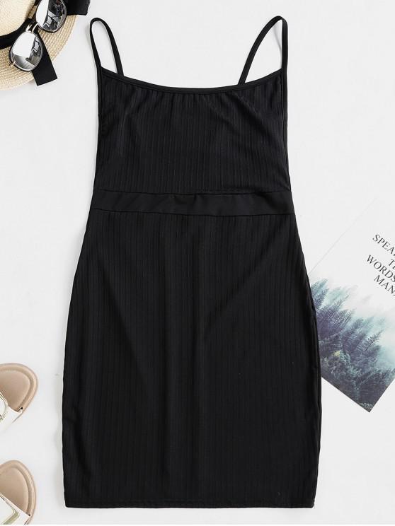 Vestido camisero ajustado sólido sin respaldo - Negro L