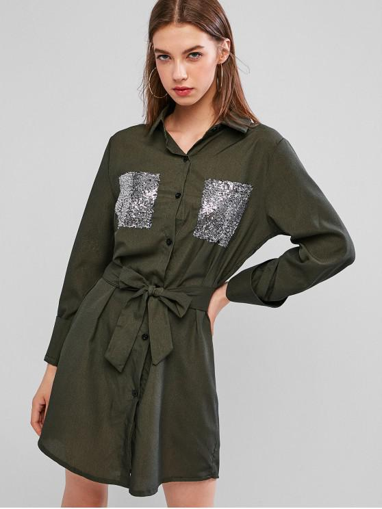 hot Sequined Pocket Button Up Belted Shirt Dress - HAZEL GREEN M